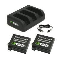 Wasabi Power Batterier och Batteriladdare för GoPro Hero4/3 batterier - Trippel AHDBT-401, 301, 201 - Paket