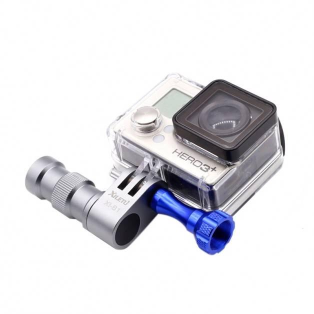 Fäste GoPro till hjulnav / hjulaxel cykel 360 grader - 5mm gänga - Aluminium