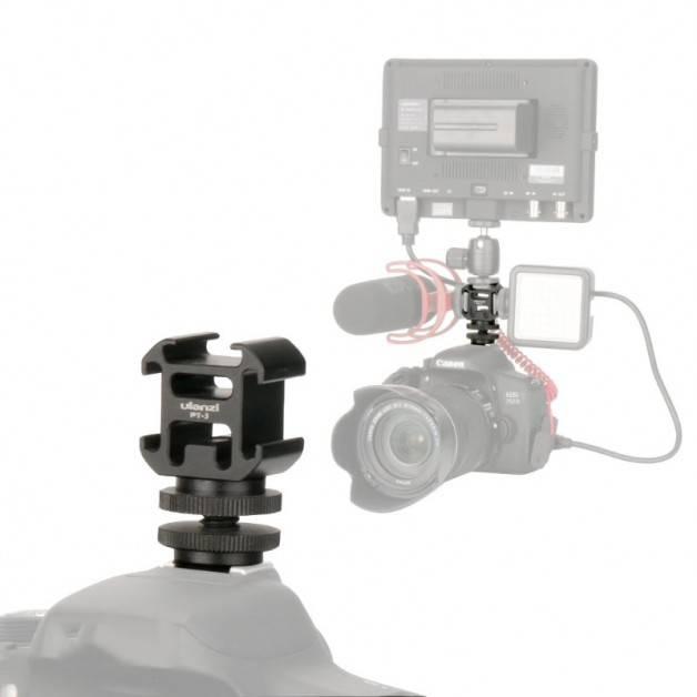 """Hållare för Tillbehör hot/cold shoe - Trippel till 1/4"""" skruv med Adapter Blixtsko - Aluminium - Kit"""