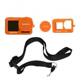 Skal och linsskydd i silikon med nack/handledsrem till DJI Osmo Action - Orange - Kit
