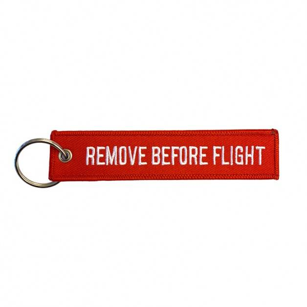 Nyckelband - REMOVE BEFORE FLIGHT- röd/vit
