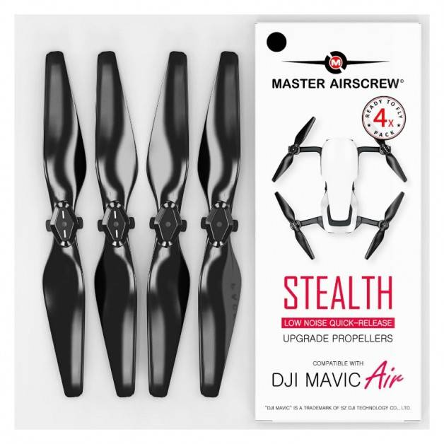 Master Airscrew - DJI Mavic Air Stealth Upgrade Propellers V2 - Propeller till DJI Mavic Air - Svart - Kit 4-Pack
