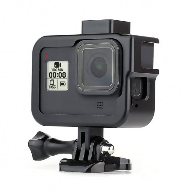 Skyddsram Vlog Aluminium med tillbehörshållare cold shoe till GoPro Hero8 Black