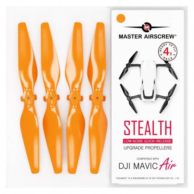 Master Airscrew - DJI Mavic Air Stealth Upgrade Propellers V2 - Propeller till DJI Mavic Air - Röd - Kit 4-Pack