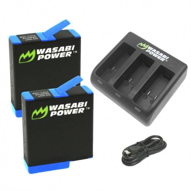 Wasabi Power Batterier och Batteriladdare - Trippel - för GoPro Hero8/7/6/5 - Paket