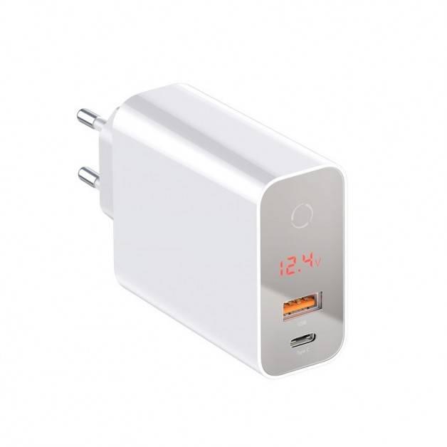 Baseus väggladdare - Snabbladdare QC4+ / PD 45W - 100-240V till USB - 2xUSB Typ A/C - Vit med display
