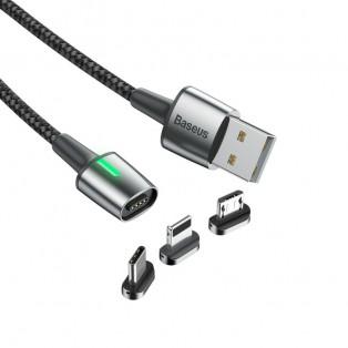 Baseus Zinc Magnetic Cable Kit, USB kabel 3 i 1 - 2.4/3A, 1m LED - Svart
