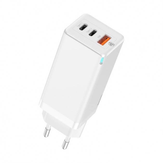 Baseus GaN Quick Travel Charger - Väggladdare - Snabbladdare QC4+ / PD 65W - 100-240V till USB - 3xUSB Typ A/C - Vit