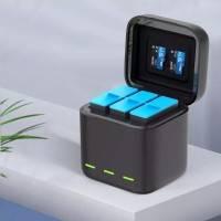 Telesin Batteriladdare med förvaring för batterier + microSD - Trippel - för GoPro Hero9 Black