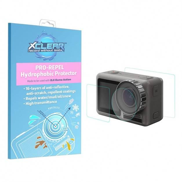 Xclear Pro-Repel Hydrophobic Protector - Hydrofobiskt Linsskydd och skärmskydd till DJI Osmo Action - Kit