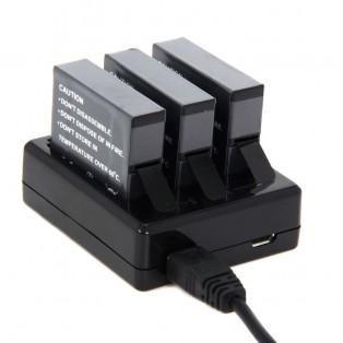 Batteriladdare för GoPro Hero4 batterier AHDBT-401 Trippel-laddare